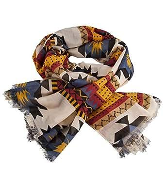 """SIX """"Russet"""" leichter Schal mit beige-rot-gelb-blau-schwarzem Ikat-Muster und Fransen (325-214)"""