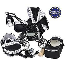 Baby Sportive - 3 en 1, RUEDAS ESTÁTICAS y accesorios, color negro, blanco, lunares
