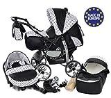 Kamil - Landau pour bébé + Siège Auto - Poussette - Système 3en1, incluant sac à langer et protection pluie et moustique - ROUES NON PIVOTABLES (Système 3en1, noir, taches)