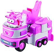 """Super Wings - 7"""" Dizzy's Rescue Tow with 2"""" Pink Transform-a-Bot Mini Figure