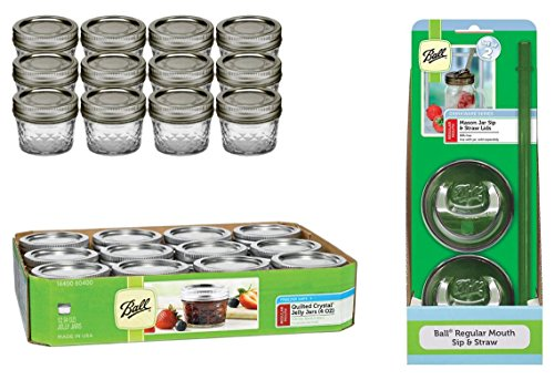 Ball 4-Ounce Quilted Crystal Jelly Jars with Lids and Bands, Set of 12, + Sip and Straw Lids by Jarden