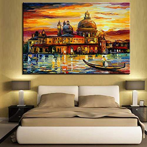 Knncch Water city Venice Immagini a parete per soggiorno Decorazione domestica moderna Poster Stile nordico Minimalista Canvas Art Hd Stampa Pittura-40x50cm