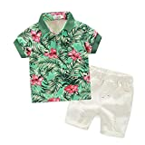 Sunday Kurzarm 1 Satz Sommer Kinder kleidung Baby Jungen T-shirts + Shorts Hosen Babybekleidung Oberteile Neugeborenen Junge Bekleidungset Outfits Blumenrock Walkoverall (Grün, Alter: 5-6J)