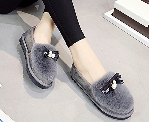 Aisun Femme Confortable à Enfiler Talon Plat Bottines Gris