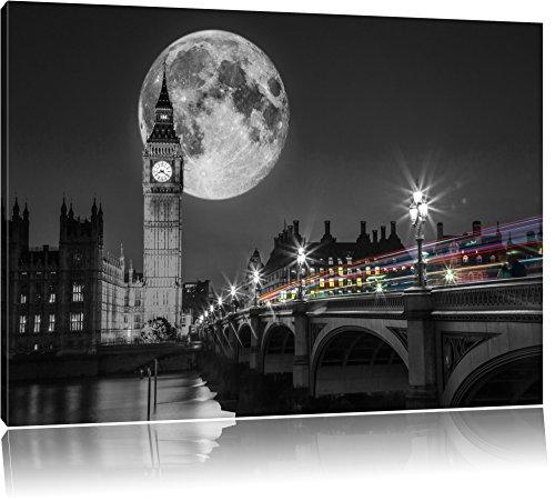 Big Ben vor dem Mond in London schwarz/weiß Format: 120x80 auf Leinwand, XXL riesige Bilder fertig gerahmt mit Keilrahmen, Kunstdruck auf Wandbild mit Rahmen, günstiger als Gemälde oder Ölbild, kein Poster oder Plakat