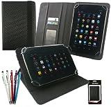emartbuy Packet Mit 5 Kugelschreiber 2 in 1 Eingabestift+Universalbereich Schwarz Carbon PU Leder Folio Wallet Hülle Schutzhülle mit Kartensteckplätze geeignet für I.onik TP - 1200QC 7.85 Zoll Tablet