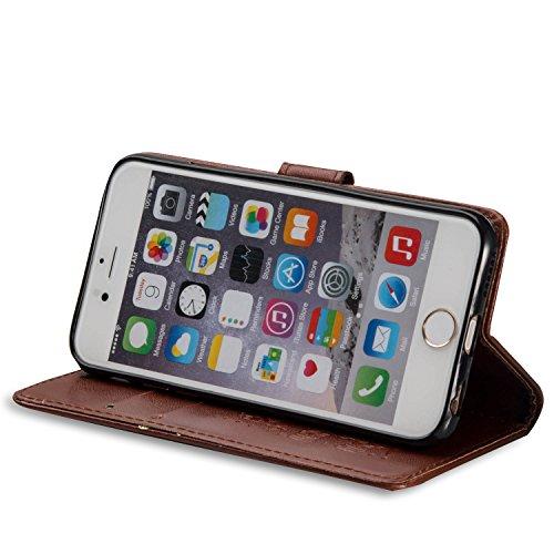 Voguecase® für Apple iPhone SE 5 5S 5G hülle,(Rose/Turm 01) Kunstleder Tasche PU Schutzhülle Tasche Leder Brieftasche Hülle Case Cover + Gratis Universal Eingabestift Elefanten/Braun