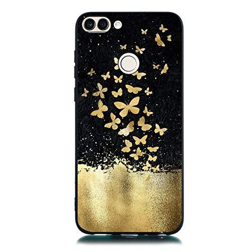 Weich Sparkle Bling Glitter Gel für Huawei P Smart/Enjoy 7s,Gomma TPU Silikon Durchsichtiges Klar Transparent Bunte Flower Cartoon Ultra Dünn Slim Kreative icht Flexible Hülle Tasche