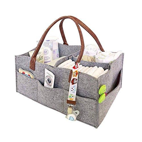 Preisvergleich Produktbild Baby-Windeltasche tragbare Windel-Aufbewahrungsbox Filztasche Hellgrau Kaminholztasche Filzkorb Kaminholztasche Kaminholzkorb Korb mit austauschbaren Fächern 33 x 22 x 18 cm