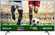 تلفزيون هايسنس بدقة 4 كيه UHD مقاس 75 بوصة مع تطبيقات نتفليكس ويوتيوب وشاهد مدمجة، بخاصية HDR وDTS، موالف DVB-