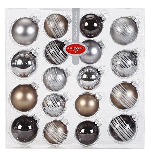 Inge Glas 15090K418 Glaskugel-Sortiment, 10 Kugeln 5 cm, 8 Kugeln 6 cm, uni und dekoriert, Urban-Graphic-Mix(zinn,graubraun,granit)