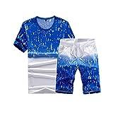 OSYARD Herren Sommer Mode Hemd mit Print Kurzarm O Hals Tops und Lässiger kurzer Hosen Anzug mit Print