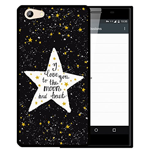 WoowCase Doogee Y300 Hülle, Handyhülle Silikon für [ Doogee Y300 ] Star Satz - I Love You to The Moon and Back Handytasche Handy Cover Case Schutzhülle Flexible TPU - Schwarz