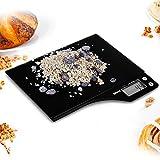 Duronic KS350 Báscula Digital para Cocina Multifunción/Báscula para Comida de Cristal Negro/5 Kg