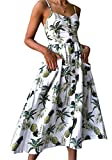 Msliy Damen Kleider Sommerkleid Rückenfrei Blumenmuster Midi Strandkleid Trägerkleid V-Ausschnitt Knopfleiste Mit Tasche Partykleid Mode Sommer Strand