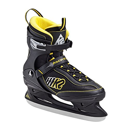 K2 Ascent Ice The Original Soft Boot adulti pattini da ghiaccio Ascent Uomo e Donna Taglia US 11.5 Euro 45 UK 10.5 cm 29.5 NERO/GIALLO/GRIGIO