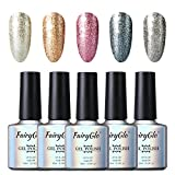 FairyGlo 5 Colours Gel Nail Polish UV LED Soak Off Platinum Varnish Bling