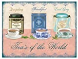 LARGE DARJEELING BREAKFAST EARL GRAY TEA'S OF THE WORLD FUNNY METAL WALL ADVERTISING WALL SIGN