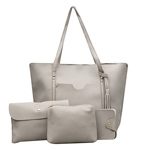 che, 4 Stück Damen Mädchen Handtasche Frauen Quaste Lederhandtasche + Umhängetasche + Umhängetasche + Kartenpaket ()