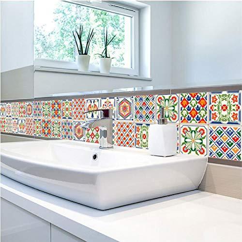 JY ART Pegatinas de Azulejos Baño Cocina Impermeable Decorativo Coloreado mediterráneo Flor...