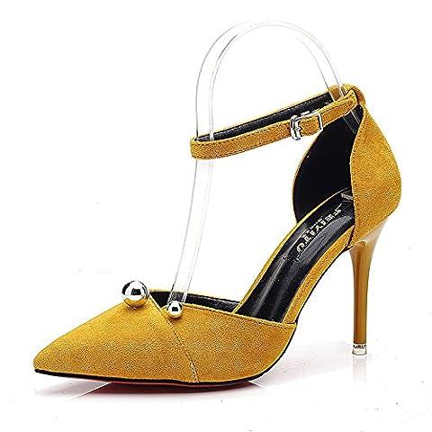 LGK&FA Les femmes d'été Sandales Sandales femme été Baotou amende et à la mode Chaussures pour femmes peu profondes en daim Chaussures Ol Hasp High-Heeled jaune 34