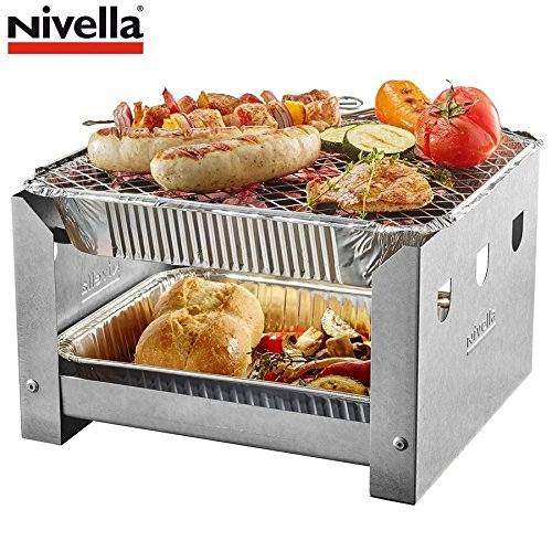 515UfCYiHcL - Nivella Grill Station +5x Einweggrill Picknick Holzkohlegrill Einmalgrill Metall