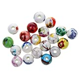 #8: Phenovo 20Pcs Mixed Round Ceramic Porcelain Loose Spacer Beads Charms Findings 10mm