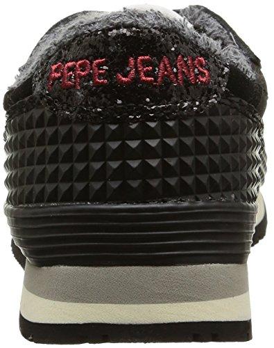 Pepe Jeans GABLE GLITTER, Low-Top Sneaker donna Nero (Schwarz (999BLACK))