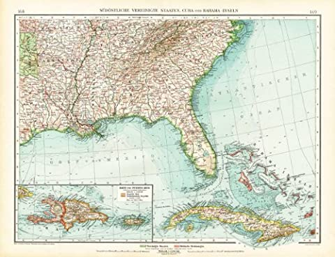 ThePrintsCollector Antique Map-South East America-Usa-United States-Florida-Cuba-Haiti-Andree-1904