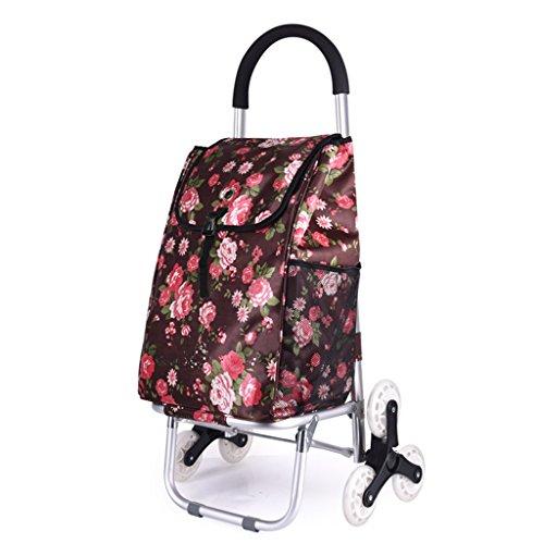 FXJ Treppenhaus-Einkaufstasche-Faltbare Tragbare aufgefüllte Wasserdichte Taschen-Aluminiumlaufkatze kann Gewicht 50Kg widerstehen (Farbe : A)