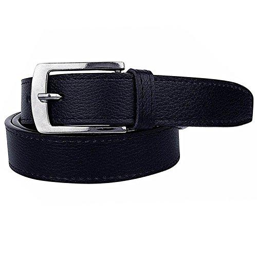 Krystle Men's PU Leather Belt (KRY-MEN-BLK-BELT, Black, Free Size)