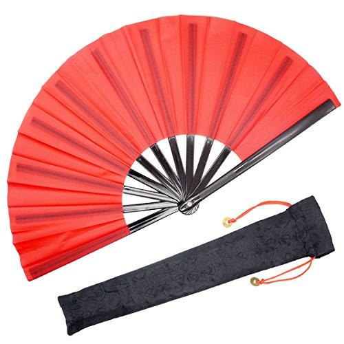 OMyTea - Abanico de mano plegable grande de tipo Kung Fu-Tai Chi, unisex, con funda de tela para su...