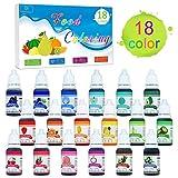 Lebensmittelfarbe - 18 Farben x 10ml Flüssige Lebensmittel Farben Set für Kuchen Backen, Kekse, Macaron, Fondant - Regenbogen Food Coloring für Kuchendekoration, DIY Slime, Kunsthandwerk Einfärben