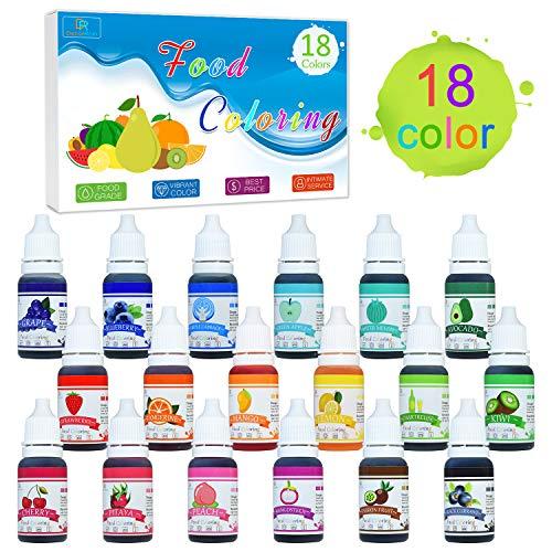Coloranti alimentari - 18 colori x 10ml di colorante alimentare liquido per cuocere, decorare, colorare zucchero fondente e cucinare - coloranti alimentari concentrati per glassa, slime e prelibatezze