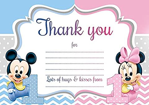 10 x Baby Minnie Mickey Mouse Twins Children Thank You Cards