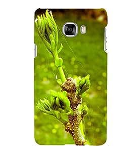 Fuson Designer Back Case Cover for Samsung Galaxy C7 SM-C7000 (Spider Web Green Twigs Blossom Greenery Greenish)