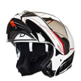 GSDZN - Motorradhelm Mit Doppellinse,Klapphelme, ABS-Schale, Für Alle Jahreszeiten Geeignet, Unisex,A-XL