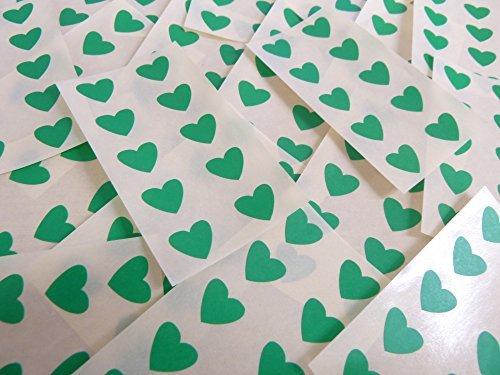 13x12mm Verde Medio Con Forma De Corazón Etiquetas, 130 auta-Adhesivo Código De Color Adhesivos, adhesivo Corazones para Manualidades y Decoración