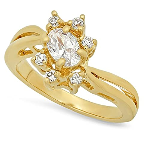 12mm Gold Plated Ring w/Oval CZ Stone Framed by Round CZs, Size 7
