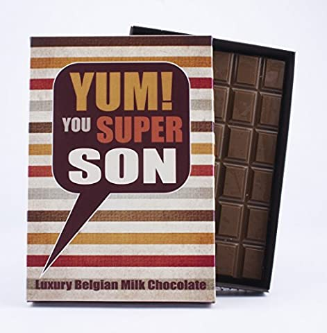 Lovely Son Novelty Chocolate Gift 85 Gram Best Luxury Belgian Milk Bar Box of Chocolates to Special Child for Birthday Funny Greetings Card
