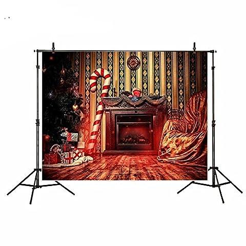 Telon Photocall Postcard Christmas Christmas Photo Children Fireplace Vintage Studio Photo, Video TV fotografia of Remembrance Family Original Gift Invitations Christmas Eve of 1.50x 2m of Open