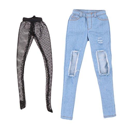 sharprepublic Pantalones De Pantalones Rotos De 1/6 Hembra para Figuras De Acción De Soldado De 12 '' - Azul Claro
