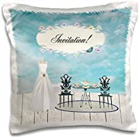 Wedding Attendant and Bridal Party - Wedding Dress Garden Tea Party, Invitation - 16x16 inch Pillow Case