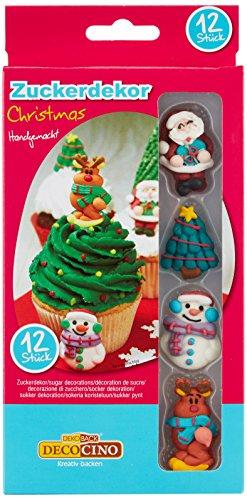 Weihnachten HOCHWERTIGE Zuckerdekore von DEKOBACK | zum Dekorieren von Weihnachtskuchen und Weihnachtsplätzchen | 1er Pack (12 Stück, 31 g)|4 Motive|Kuchendeko Weihnachten kaufen ()