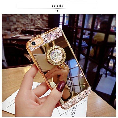 iPhone 7 Plus Hülle,iPhone 7 Plus Silikon Hülle,JAWSEU Luxus Glitzer Bling Diamant Strass Mirror Spiegel Zurück Rückseite Full Bumper Case Silber Weiche Silikon Crystal Ultra Dünne Shiny Glanz Perfekt Ring,Gold