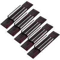 Kmise Ukulele Palissandro Ponte Ponte di legno 110x 25x 8mm + Bone sella corde 12mm Parti di ricambio, confezione da 5