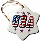 3dRose orn_50744_1 USA Flag Text with Flag Stars Snowflake Porcelain Ornament, 3-Inch