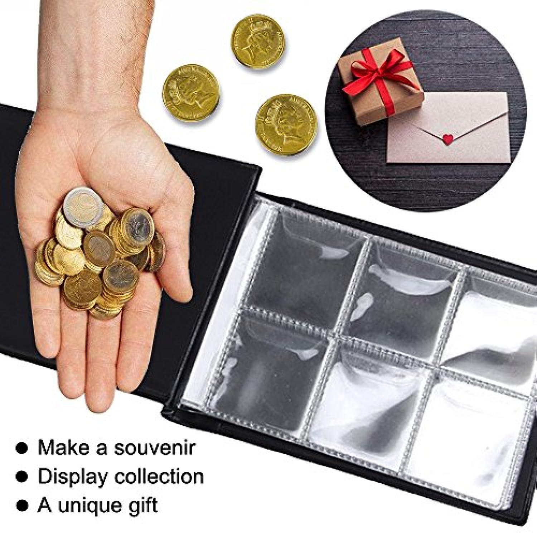 Caxmtu Album numismatique Collection de pièces de monnaie 120compartiments Cadeaux de Noël Noir