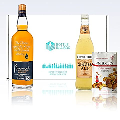 Benromach 10-year-old 70cl Malt Whisky + Fever-Tree Ginger Ale + Mr. Filbert's Chilli & Fennel Nuts Gift Box