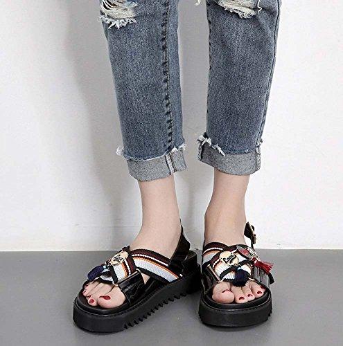 Sandali casuali di estate dei nuovi pattini di stile britannico dei pattini della nappa degli studenti universitari femminili ( Color : Black ) Black